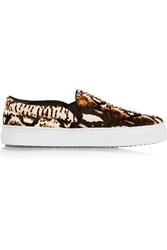 Schutz Amisha Snake Effect Calf Hair Slip On Sneakers Brown