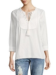 The Kooples Embroidered Pintuck Cotton Top White
