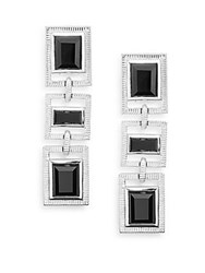Judith Ripka Bativia Black Onyx And Sterling Silver Linear Drop Earrings Silver Black