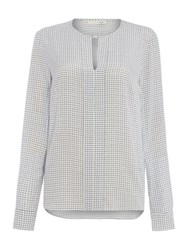 Oui Mini Check Collareless Blouse