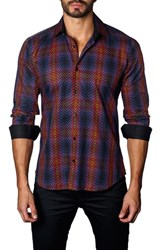 Jared Lang Trim Fit Ombre Plaid Sport Shirt Orange Navy Geometric