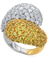 Macy's Diamond 3 3 8 Ct. T.W. And Yellow Sapphire 4 1 4 Ct. T.W. Ring In 14K Gold And White Gold