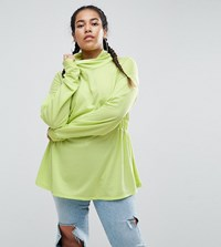 Asos Curve Sweatshirt With Roll Neck In Neon Lime Green