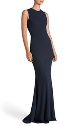 Dress The Population Women's Eve Crepe Mermaid Gown Midnight Blue