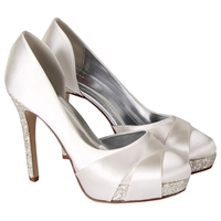 Rainbow Club Christy Satin Glitter Platform Court Shoes Ivory