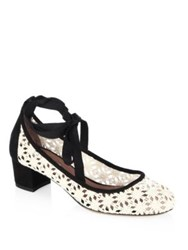 Tabitha Simmons Minnie Daisy Crochet And Suede Block Heel Pumps Ivory Black