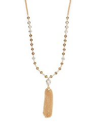 Saks Fifth Avenue Chain And Bead Tassel Necklace Gold
