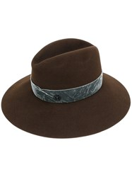 Maison Michel Asymmetric Fedora Hat Women Wool Felt M Brown