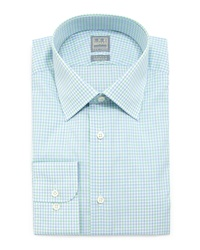 Ike Behar Check Woven Dress Shirt Green Blue
