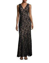 Decode 1.8 Deep V Lace Gown Black Nude