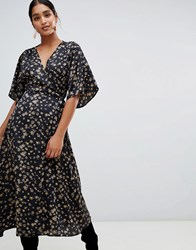 Liquorish Floral Wrap Midi Dress With Kimono Sleeve Black