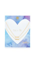 Gorjana You Me Shimmer Bar Necklace White Cz Gold