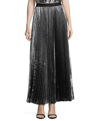 Rebecca Taylor Pleated Metallic Maxi Skirt Gunmetal