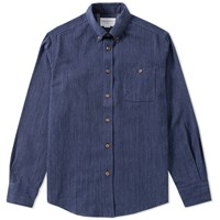 Tripl Stitched Button Down Pinstripe Shirt Blue