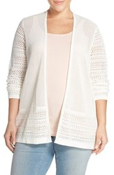 Plus Size Women's Sejour Cotton Open Front Cardigan Plus Size