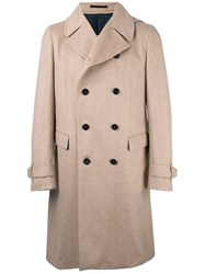 Z Zegna Double Breasted Coat Nude And Neutrals