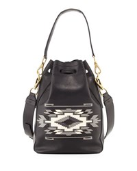 Ralph Lauren Southwestern Leather Bucket Bag Black