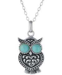 Macy's Reconstituted Turquoise Owl Pendant Necklace In Sterling Silver