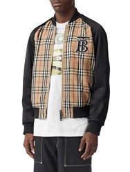 Burberry Logo Embroidered Tech Bomber Jacket Archive Beige
