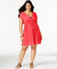 Dotti Plus Size Hooded Drawstring Cover Up Women's Swimsuit Coral