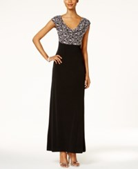 Connected Sequined Lace Cowl Neck Gown Black Silver