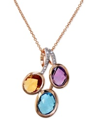Effy Collection Effy Multi Stone 4 Ct. T.W. And Diamond Accent Pendant Necklace In 14K Rose Gold