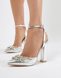 601b5c24c6b403 True Decadence Silver Embellished Block Heel Shoes