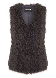 Mint Velvet Charcoal Shearling Gilet Grey
