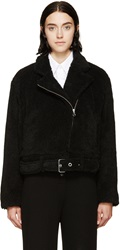 Mm6 Maison Margiela Black Shearling Biker Jacket