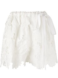 Rochas Floral Guipure Lace Shorts White