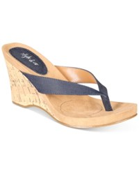Style And Co Chicklet Wedge Thong Sandals Created For Macy's Women's Shoes Denim