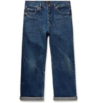 Chimala Cropped Washed Selvedge Denim Jeans Blue
