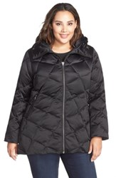 Kristen Blake Plus Size Hooded Diamond Quilted A Line Down Coat Black