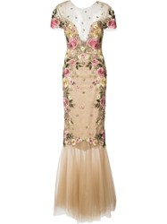 Marchesa Notte Floral Embroidery Fitted Gown Women Polyester 10 Nude Neutrals
