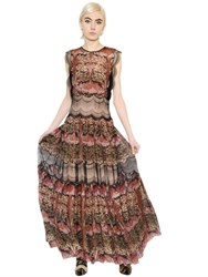 Alberta Ferretti Pleated Floral Lace And Chiffon Dress