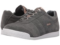 Gola Harrier Glimmer Suede Grey Rose Gold Women's Shoes Gray