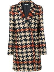 Circolo 1901 Houndstooth Double Breasted Coat Brown