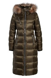 Andrew Marc New York Women's Charlize 42 Hooded Water Resistant Down Coat With Genuine Fox Fur Trim Forest