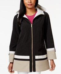 Jones New York Petite Colorblocked A Line Rain Coat Black