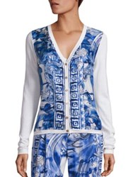 Versace Long Sleeve Printed Cardigan Midnight Multi