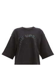 The Upside Brando Logo Print Jersey Cotton Top Black