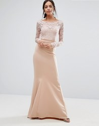 City Goddess Bow Back Maxi Dress With Lace Body Nude Pink