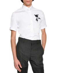 Alexander Mcqueen Rose And Thistle Short Sleeve Cotton Shirt White