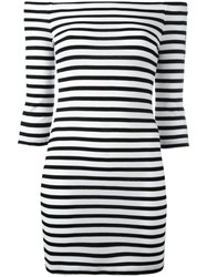 Zoe Karssen Off Shoulders Striped Dress Black