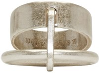 Maison Martin Margiela Silver Flat And Round Ring Set