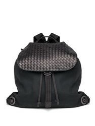 Bottega Veneta Woven Flap Backpack Black