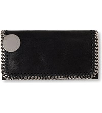 Stella Mccartney Falabella Faux Suede Continental Wallet Black