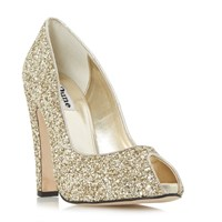 Dune Discoo Glitter Peep Toe Courts Gold