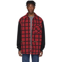 Off White Red And Black Contrast Sleeve Shirt