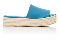 Barneys New York Satin Espadrille Slide Sandals Dk. Green